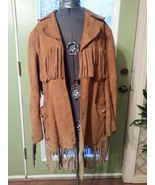 Vintage Leather Fringe coat jacket James S Lee custom 60's 70's western ... - $60.00