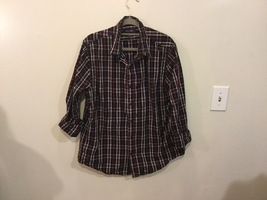 Adam Levine Black Red White Plaid 100% Cotton Button Down Shirt, size L