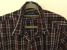 Adam Levine Black Red White Plaid 100% Cotton Button Down Shirt, size L image 2