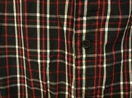 Adam Levine Black Red White Plaid 100% Cotton Button Down Shirt, size L image 3