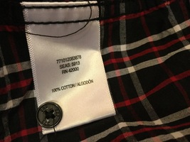 Adam Levine Black Red White Plaid 100% Cotton Button Down Shirt, size L image 6
