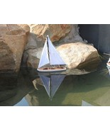 Model Sail Boat Wooden Ship Home Decor Floating Solid Nautical Floats Wa... - $51.32