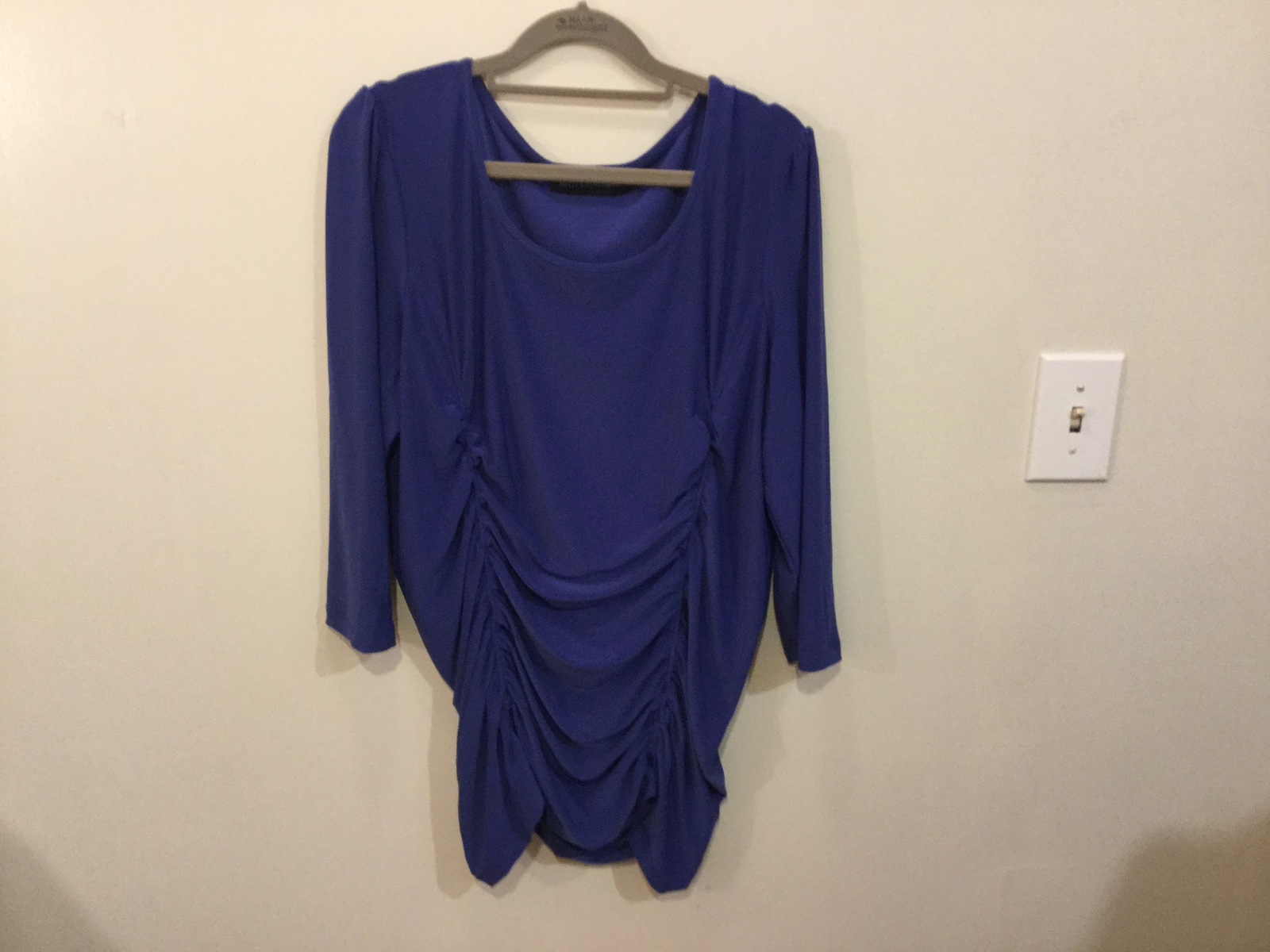 Terri Gillespie Blue Stretchy Polyester Blouse Top 3/4 Sleeve, size XL