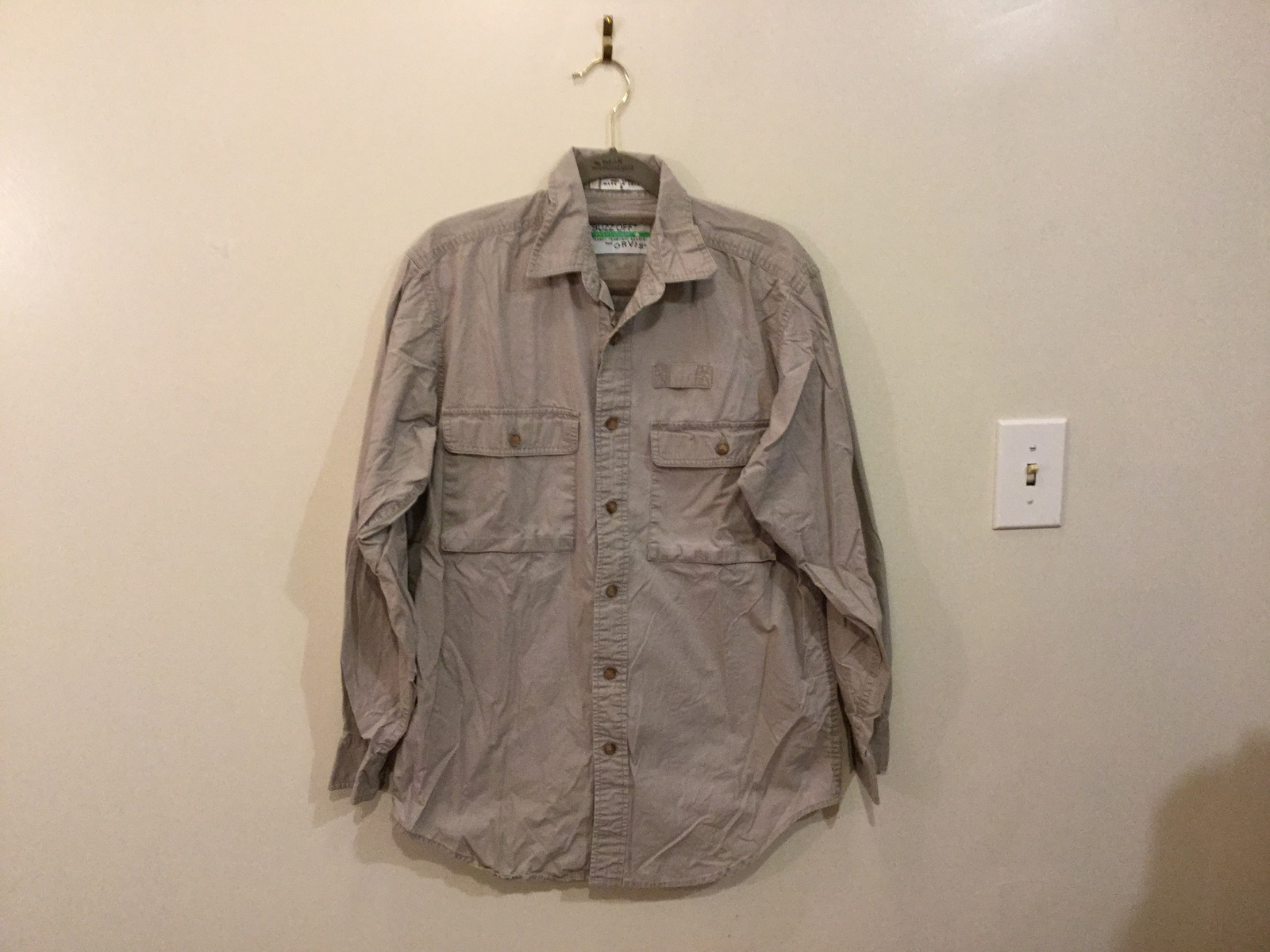 BUZZ OFF by Orvis Insect Shield Reppelent 100% Cotton Button Down Shirt, size S