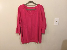 Fashion Bug Hot Pink 100% Cotton 3/4 Sleeve V-neck Blouse Top, size 1X