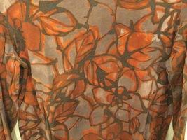 Vera Wang Brown Large Floral Pattern 100% Cotton Crew Neck T-Shirt Blouse size L image 2