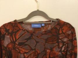 Vera Wang Brown Large Floral Pattern 100% Cotton Crew Neck T-Shirt Blouse size L image 3