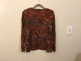 Vera Wang Brown Large Floral Pattern 100% Cotton Crew Neck T-Shirt Blouse size L image 4
