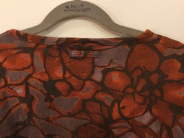 Vera Wang Brown Large Floral Pattern 100% Cotton Crew Neck T-Shirt Blouse size L image 5