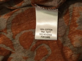 Vera Wang Brown Large Floral Pattern 100% Cotton Crew Neck T-Shirt Blouse size L image 7