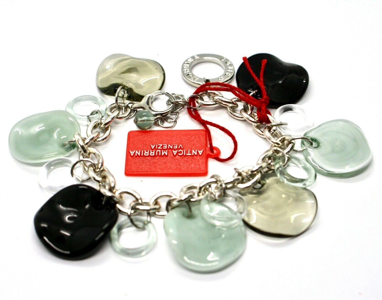 Bracelet Antica Murrina Venezia Shiva Murano Glass Discs Black BR316A12