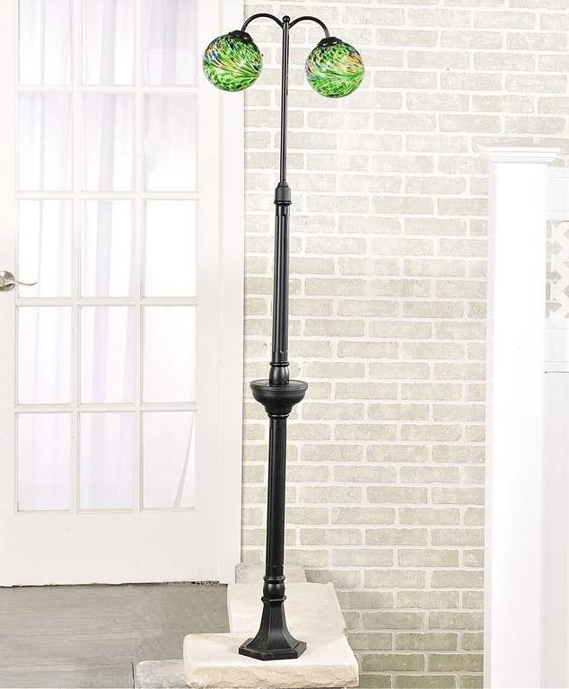 "65"" Solar Lighted Iron & Glass 2 Globe Lamp Post"