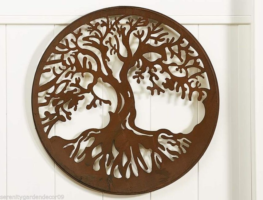 """23.8"""" Round Iron Cut-Out Tree of Life Wall Plaque NEW"""
