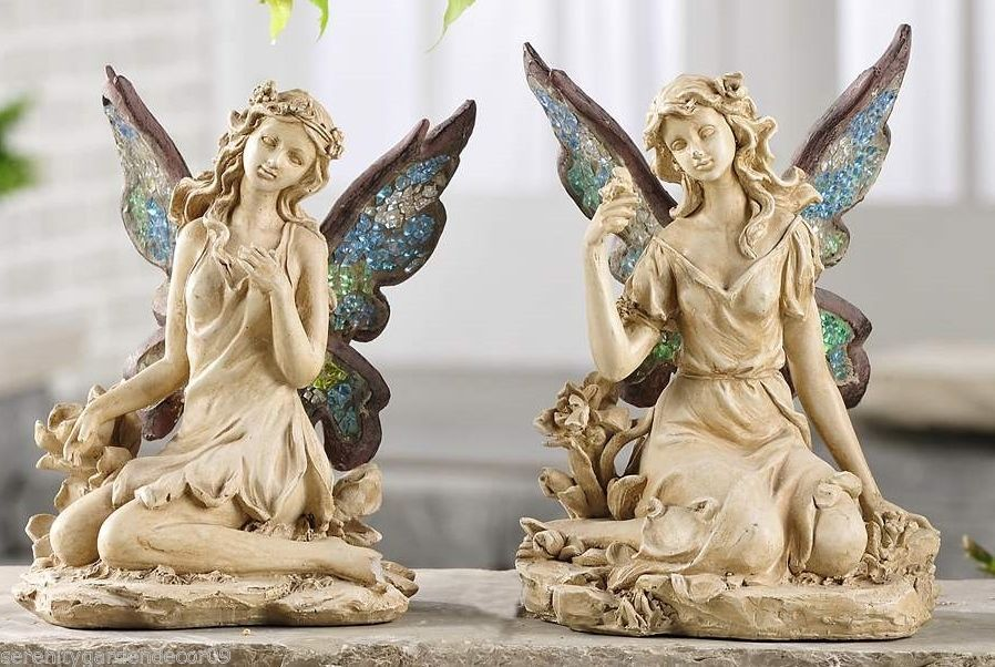 Set of 2 Sitting Fairy Figurines w Painted Mosaic Glass Wings Floral Detailing