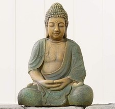 "16"" Sitting Buddha Statue Poly Resin Grey w/Verdigris Finish NEW"