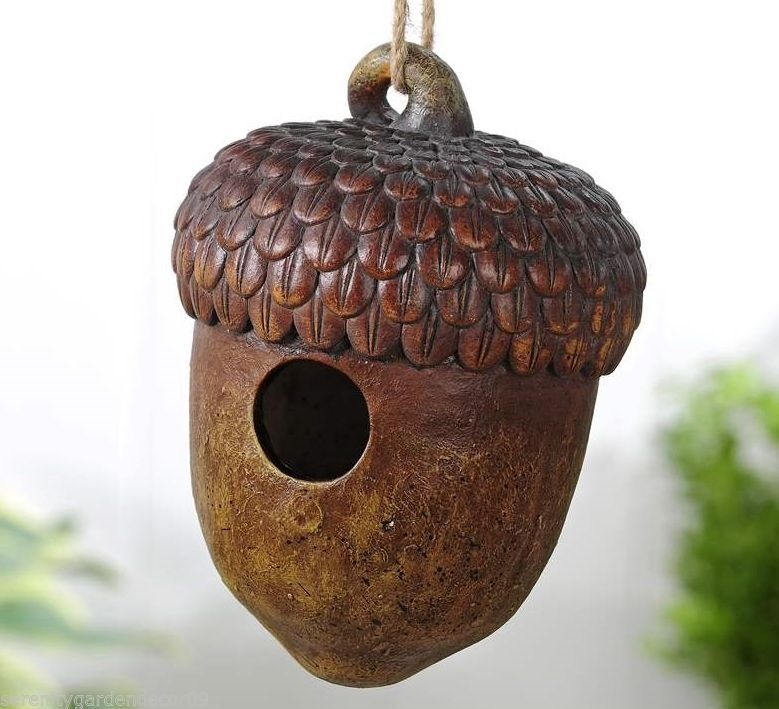 9 3 acorn design hanging birdhouse durable polystone new for Acorn house designs