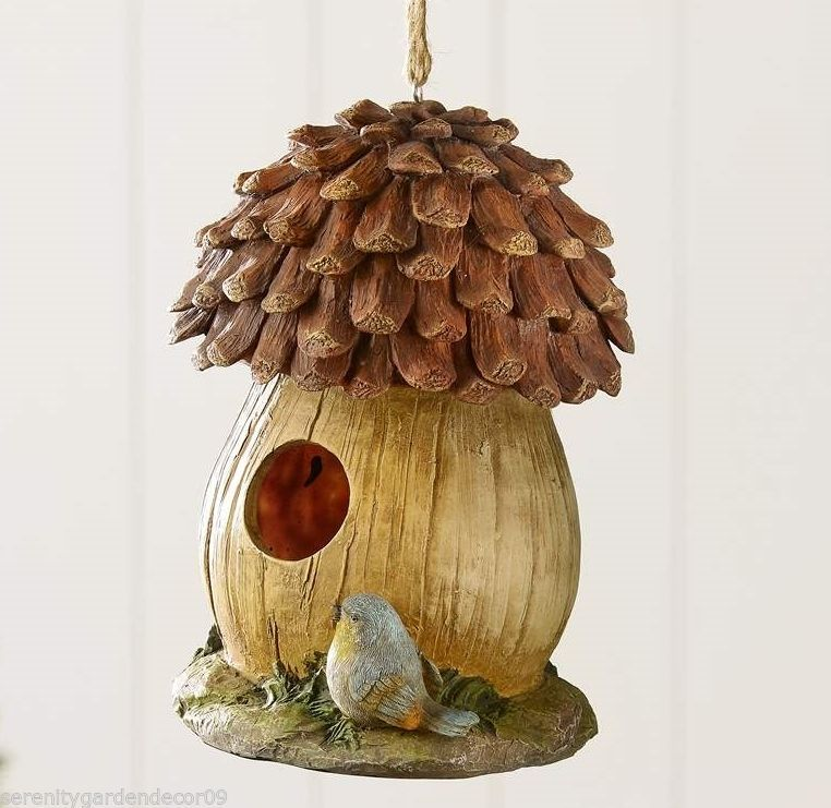 "9.5"" Acorn & Bird Design Hanging Birdhouse Durable Polystone NEW"