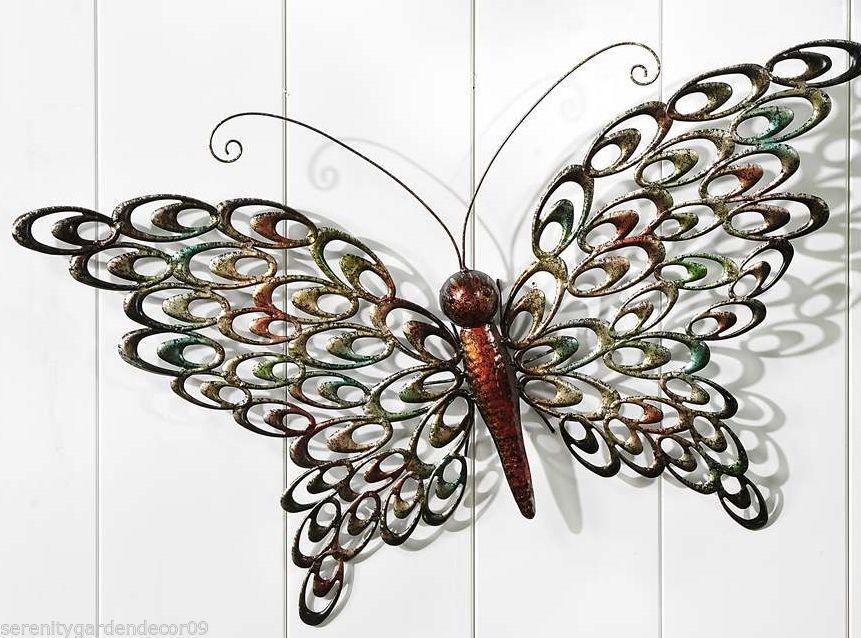 "29"" Butterfly Wall Plaque Cut Out Design Wings Copper Color Body"