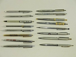 Lot of 16 Vintage Silver Ballpoint Pens Cross Papermate Snuggle & More... - $23.64