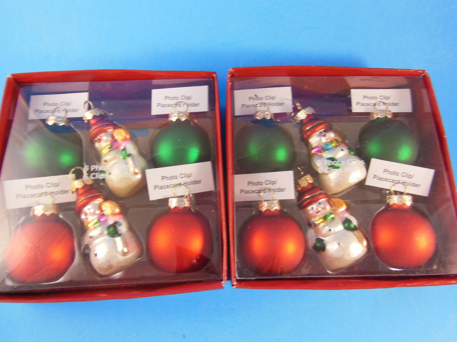 12 Christmas Photo or Place Card Holders Snowmen & Christmas Balls NIB Michaels - $25.98