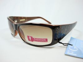 Foster Grant Brown Fashion Ladies sunglasses Side Gold Studs Envious - $19.95