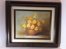 Vintage Framed Daisy Floral Still Life Oil Pain... - $69.99