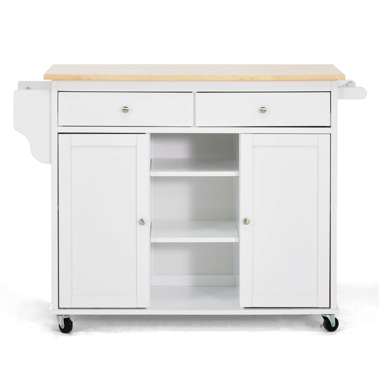 Kitchen Island Cart Meryland White Modern Storage Cabinet