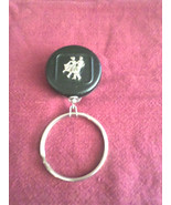 "H13 3D silver couple on black square dance holder w/15"" auto-recoil chain  - $7.91"