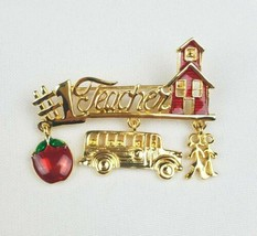 Vtg Danecraft Number 1 Teachers pin enamel gold tone charms school bus  - $17.20