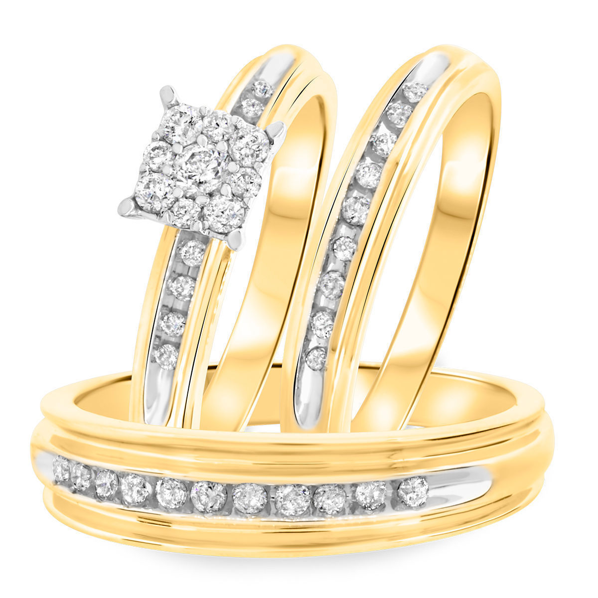 Primary image for Round Cut CZ 14k Gold Plated 925 Silver Trio Wedding Ring Sets & Free Shipping
