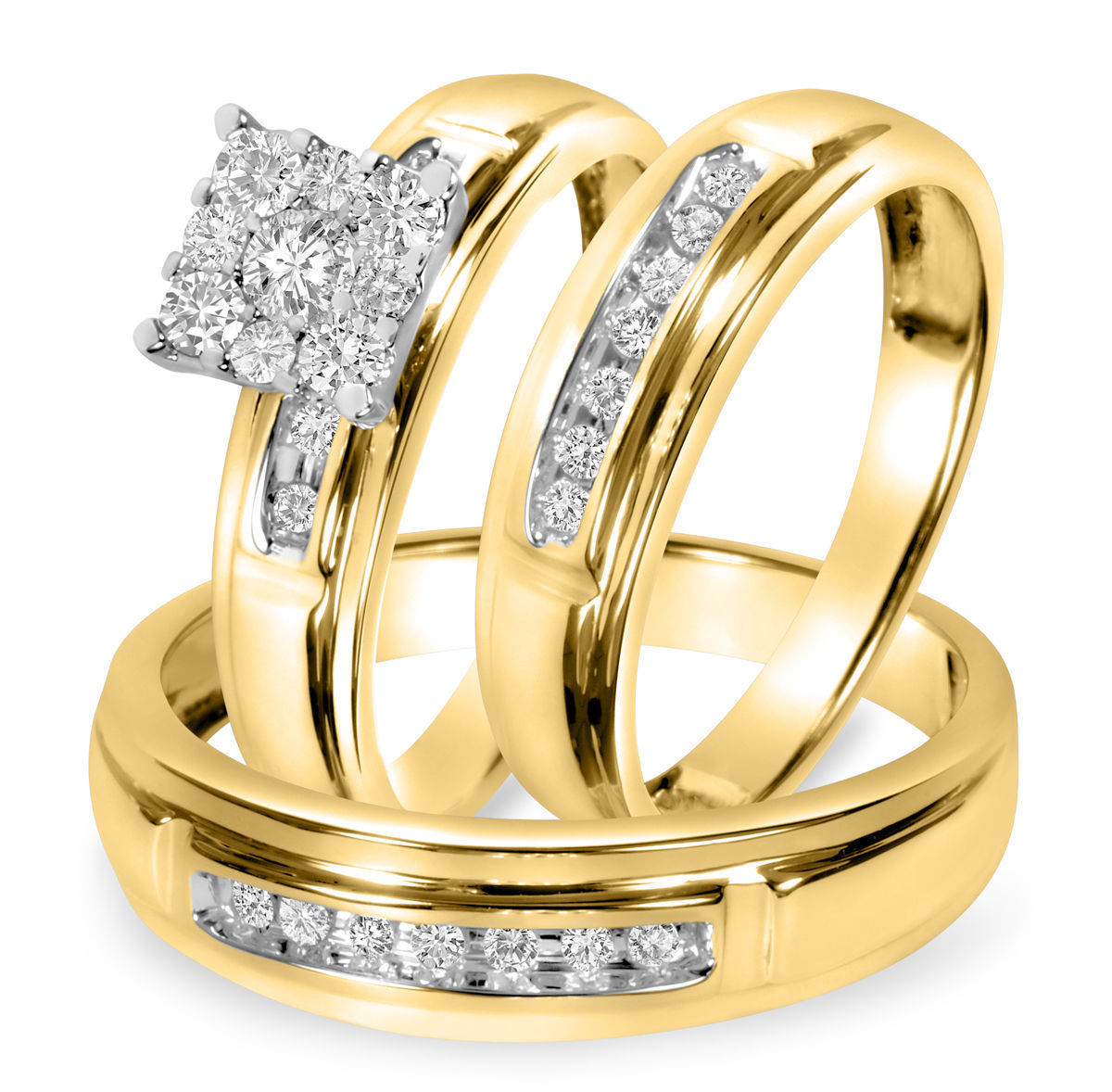 Primary image for 1/2 CT Round Sim Diamond Matching Trio Wedding Ring Set In 14K Yellow Gold Over