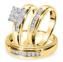 1/2 CT Round Sim Diamond Matching Trio Wedding Ring Set In 14K Yellow Gold Over - $127.27