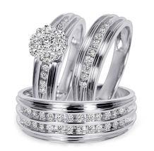 Matching Wedding Ring Set 14K White Gold Fn 925 Silver Trio Ring Set - $129.85