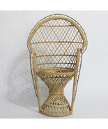 Wicker Rattan 16 Inch Peacock Chair High Back Doll Bear Display Furniture - $9.85