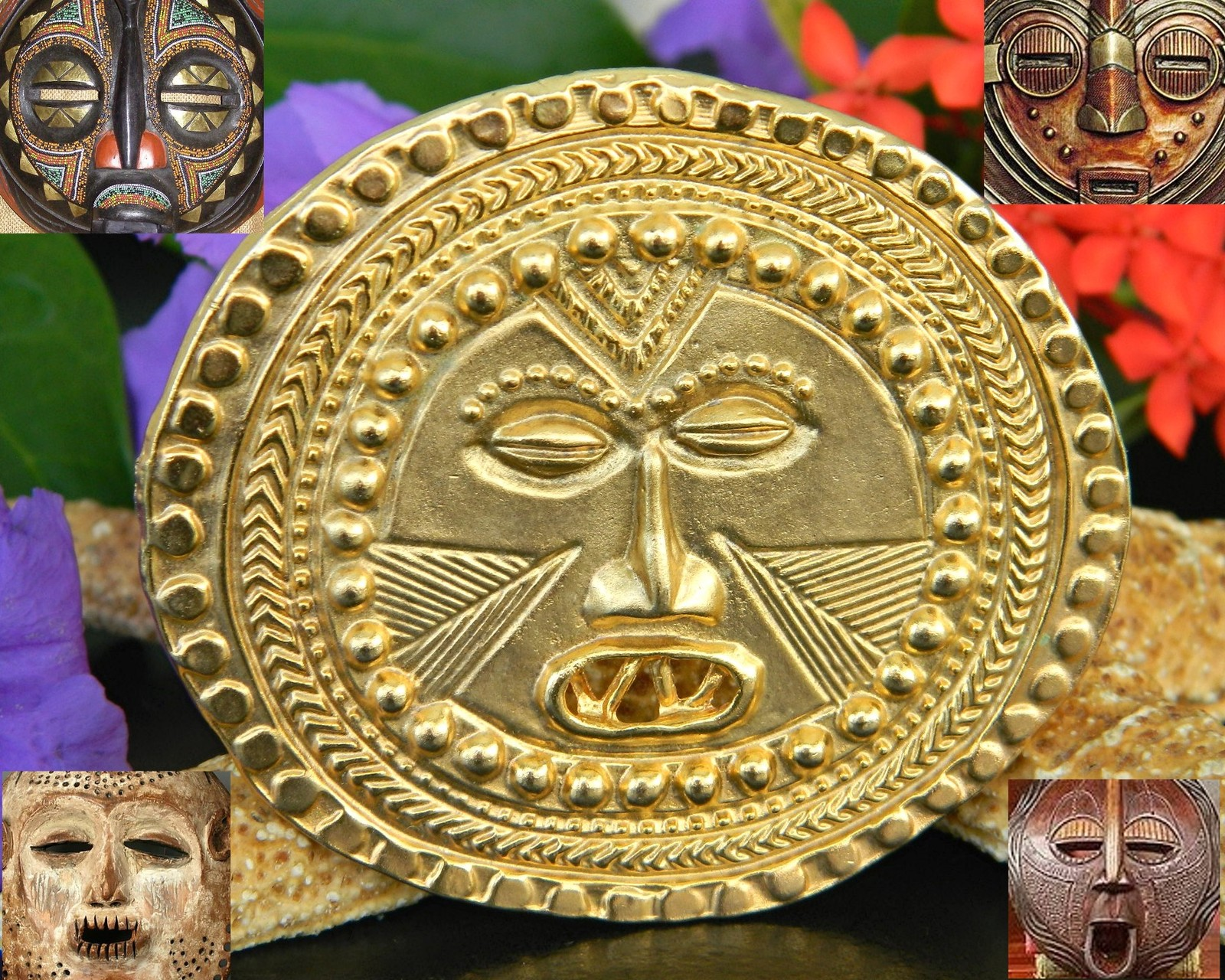 Vintage Warrior Face Africa African Tribal Mask Brooch Pin Round Large
