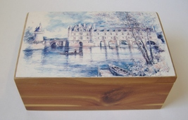 Cedar Wood Painted Trinket Treasure Box Jewelry Holder Desk Lake Castle ... - $28.00