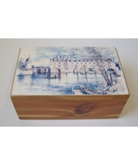 Cedar Wood Painted Trinket Treasure Box Jewelry Holder Desk Lake Castle ... - $28.00