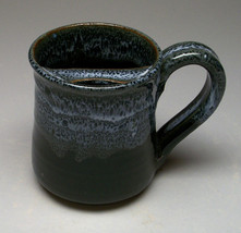 Shanware Pottery Mustache Mug, onyx glaze, righ... - $24.00