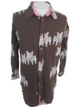 Hue women Pajama top button up shirt French bulldog sz M brown pink long... - $22.76