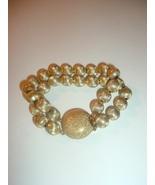 Vintage Signed Monet Satin Goldtone Double Strand Bracelet  - $18.99