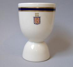 Egg Cup DG Lion Crest Blue Gold Vintage White Ceramic Porcelain Double S... - $20.00