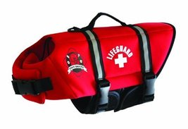 Paws Aboard Small Neoprene Designer Doggy Life Jacket, Red Lifeguard [Mi... - $21.95