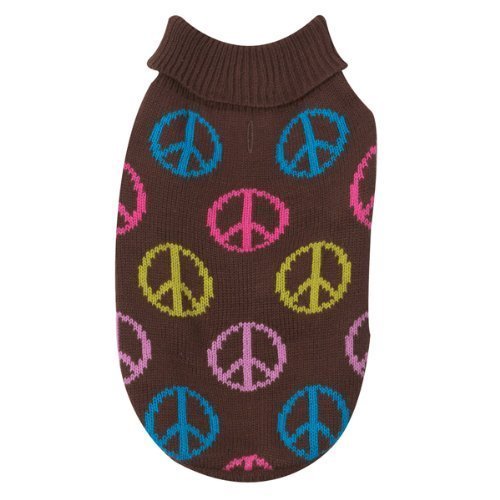 East Side Collection Acrylic Peace Sign Dog Sweater, X-Small, 10-Inch, Brown - $9.99