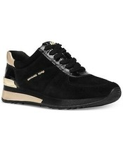 Michael Kors MK Women's Allie Wrap Trainers Shoes Sneakers Suede Black/Gold