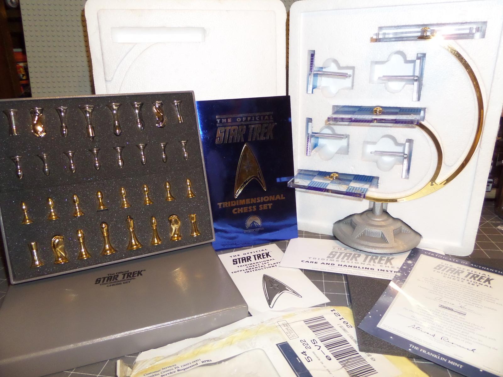 Star Trek 3d Tridimensional 1994 Chess Set Franklin Mint Complete In Original Pa Original Series