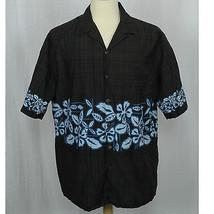 Hilo Hattie Black Floral Hibiscus Camp Aloha 100% Cotton Shirt Men Size XL - $26.17