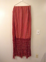Woven Red Orange Very Wide Very Long Striped Scarf Wrap Shawl with Long Fringe