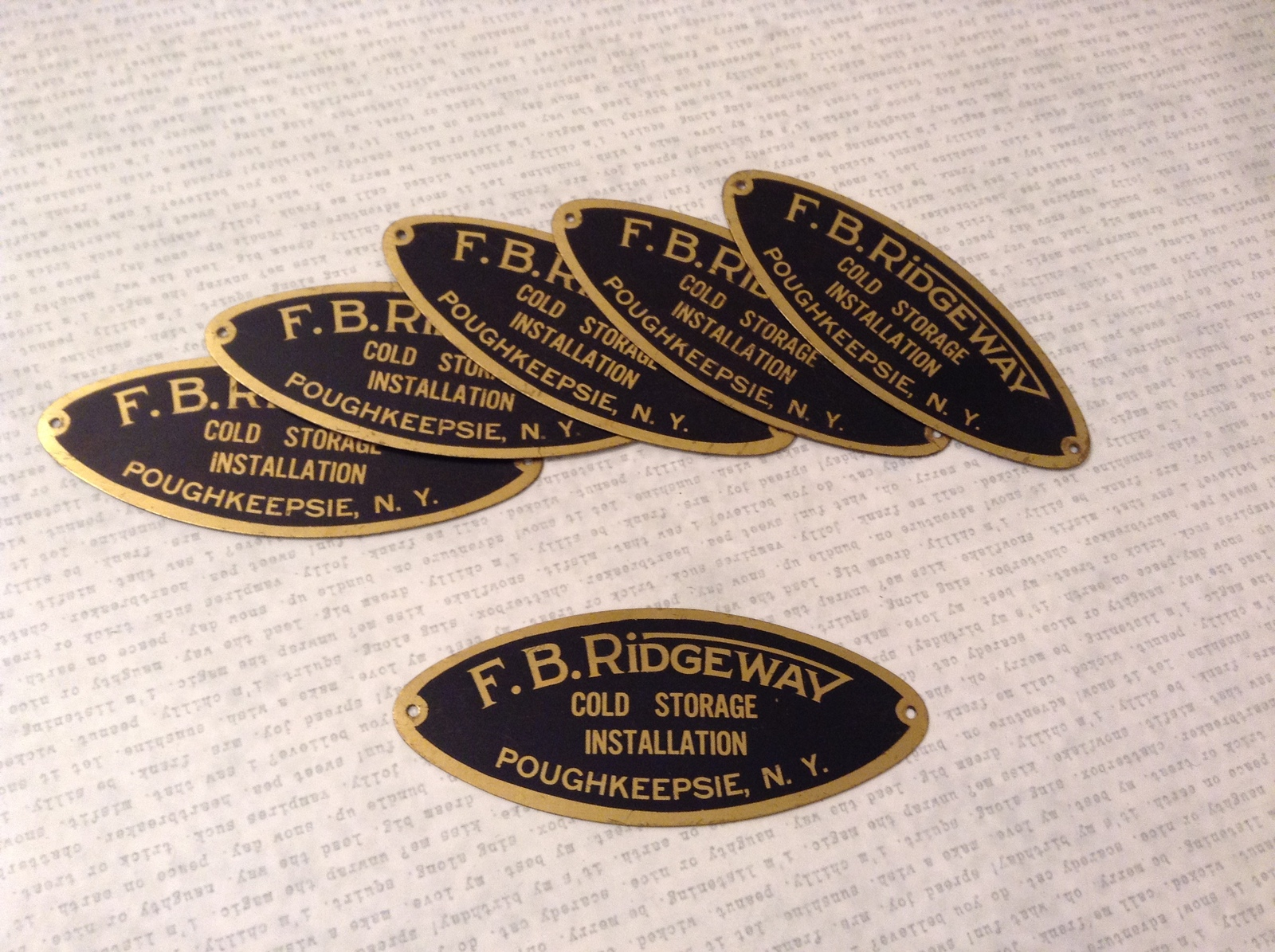 F.B Ridgeway Poughkeepsie NY Cold Storage Installation Metal Plaque, set of 6