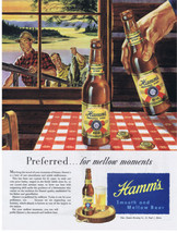 1947 HAMM'S BEER Fishermen Fishing Fish Cabin Lake Print Ad  - $9.99