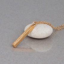 Gold Vertical Bar Necklace - Minimal Designer Handmade Stick Pendant - 1... - $50.00